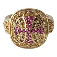 925 Sterling Silver Gold Plated Ruby Ring