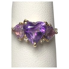 14K Yellow Gold Heart Shaped Amethyst Ring