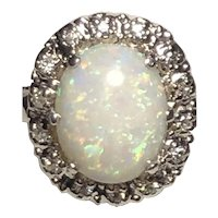 14kt Opal and Diamond White Gold Ring