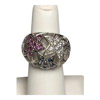 925 Sterling Silver Stars Ring