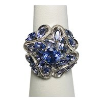Ornate Tanzanite 925 Sterling Silver Ring