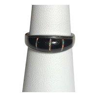 Sterling Silver Onyx and Created Opal Ring