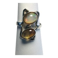 925 Sterling Silver Jelly Opal Ring