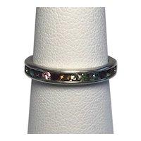 925 Sterling Silver Precious Gemstone Band Ring