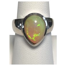 Amazing Large Pear Shaped Opal 925 Sterling Silver Ring