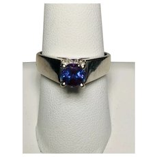 14kt White Gold Synthetic Alexandrite Ring