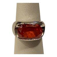 925 Orange Lab Created Orange Stone Ring