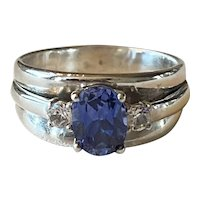 Sterling Silver Synthetic Blue Sapphire Ring