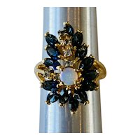 Sapphire and Opal 18kt Gold Electroplated Ring
