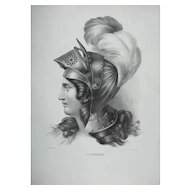 French Renaissance Antique 18th Century Lithograph, Female Portrait in Armor, Religious Subject