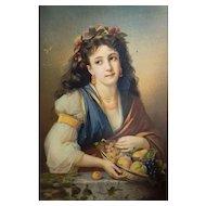 Antique Female Portrait of a Woman holding a fruit Basket syblol of Automn, French Chromolithograph Print