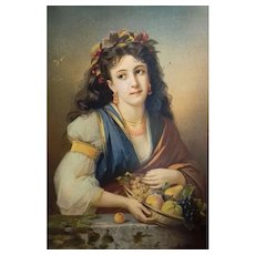 Antique Female Portrait of a Woman holding a fruit Basket syblol of Automn, French Chromolithograph Print