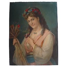 Antique Female Portrait of a Woman holding a Flower Bouquet syblol of Summer, French Chromolithograph Print