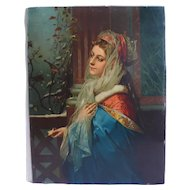 Antique Female Portrait of a Woman in a Blue dress syblol of Winter, French Chromolithograph Print