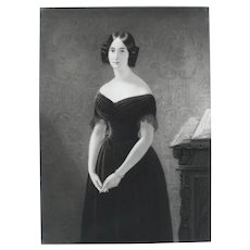 19th - Female Portrait in Black Dress, Antique engraving after oil painting by french painter Edouard Dubufe
