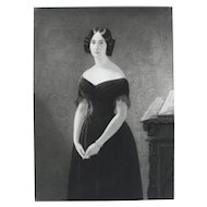 Female Portrait in Black Dress Print, 19th French Antique Engraving after painting by Edouard Dubufe
