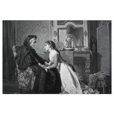19th - French Young Woman sitting in front of Grandmother, Large Antique Engraving after oil Painting by Compte Calix