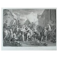 Hector leaving for Trojan War, 18th century Ancient Greek Mythology Engraving after painting by Jean Restout