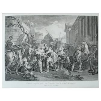 18th century - Hector leaving for Trojan War, Ancient Greek Mythology Engraving after oil painting by Jean Restout