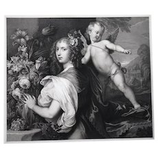 19th - Female Portrait Etching Print, Woman holding a Flower Bouquet next to an Angel after a flemish painting by Van Dyck