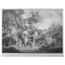 18th Century - Wedding of Psyche and Cupid from Greek Mythology, Antique Etching Print after painting by François Boucher