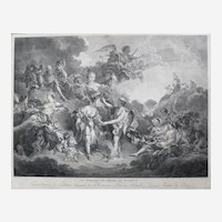 Wedding of Psyche and Cupid from Greek Mythology, 18th Century Antique Etching Print