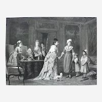 Large Victorian Engraving 19th, Ladies in a Castle after French Painting By Charles Baugniet