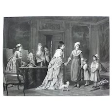 19th - Large Victorian Engraving Print, Ladies in a Castle after French oil Painting By Charles Baugniet