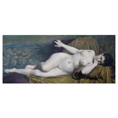 1870- Female Nude Portrait, Watercoloured Lithograph Print after French Painting by Jules Lefebvre
