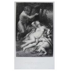 19th - Nude Nymph Surprised by a Satyr,  Ancient Greek Mythology Etching Print after italian painting By Corregio