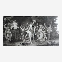 Roman God Bacchus (Greek Dionysus) from Ancient Mythology, 19th Large Print after painting by William Bouguereau