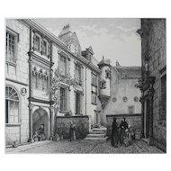 French Castle Interior Yard, 19th Century Architecture Print