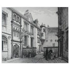 French Castle Interior Yard, 19th Century Architecture Print