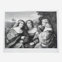 Italian Renaissance Female Portrait, 19th C. Lithograph Print from British Museum after painting by Palma Vecchio