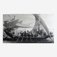 Very Large Etching of Nude Cleopatra and Antony travelling on a Ship, 19th C. Print after French painting By Picou