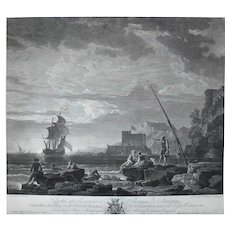 Marine Seascape 18th century Etching of a Sail Boat, French Antique print after painting by Horace Vernet