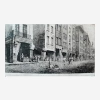 Old Paris City Street, 19th Century Large Architecture Etching Print