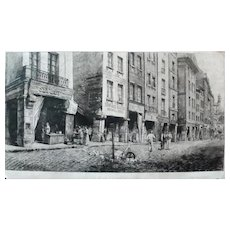 Old Paris City Street, 19th Century Large Architecture Etching Print