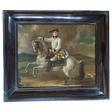The Horse Riding Soldier, 18th Century German Antique Oil Painting