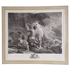 Apollo In The Forges Of Vulcan, 18th Century Antique French Mythological Engraving Print