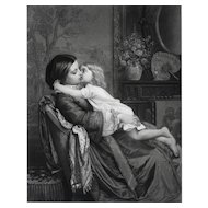 19th - Large Engraving of a Woman and Child Kissing, after French Antique oil Painting by Auguste Toulmouche
