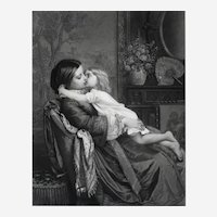 Large Antique Etching of a Woman and Child Kissing, 19th Century print after painting by A. Toulmouche