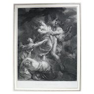 Boreas And Orithyia from Greek Mythology, 18th Century Etching Print after French painting by F. Vincent