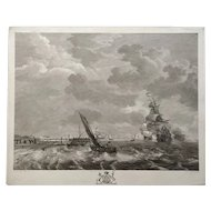 18th Century Large Marine Seascape French Etching