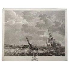 18th Century Large Marine Seascape French Etching