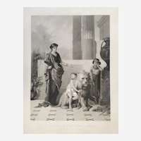 Young Prince with his Lion, Large 19th Century Antique French Etching