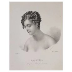 Female Portrait of Nymph Galatea, Early 1800s Antique Lithograph Print, Greek Mythology Art
