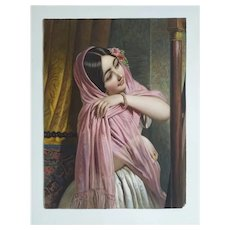 Oriental Female Portrait - 19th Century French Antique Etching