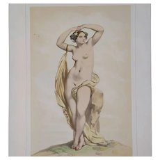 Nude Portrait of Erigone from Greek Mythology - 19th Century Antique Watercolor Lithograph