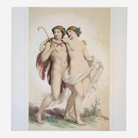 Nude Portrait of Bacchus and Ariadne - Greek Mythology - 19th Century Watercolor Lithograph